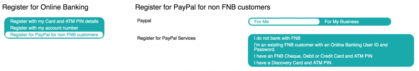 Registering for an online account with FNB