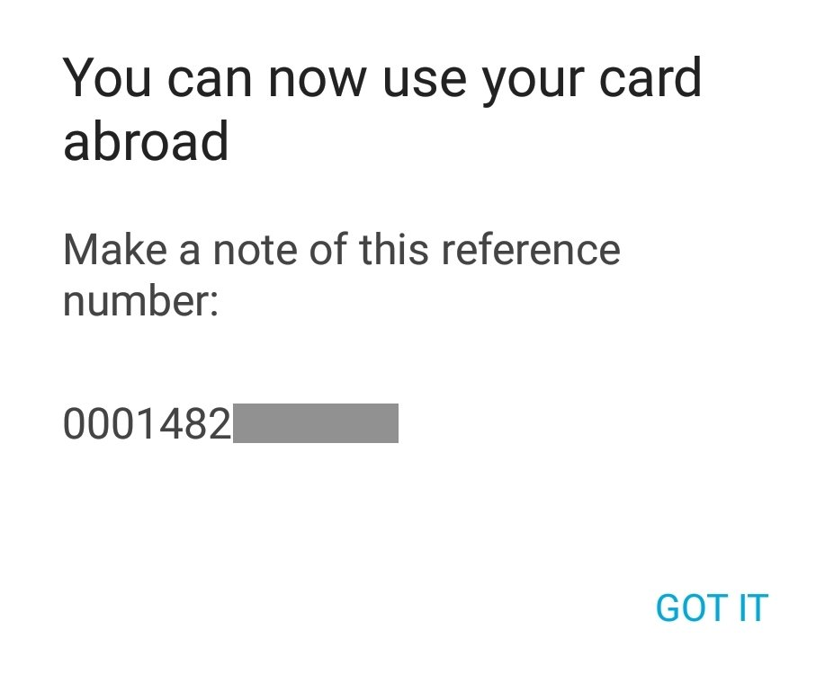 Confirmation message for using your card abroad