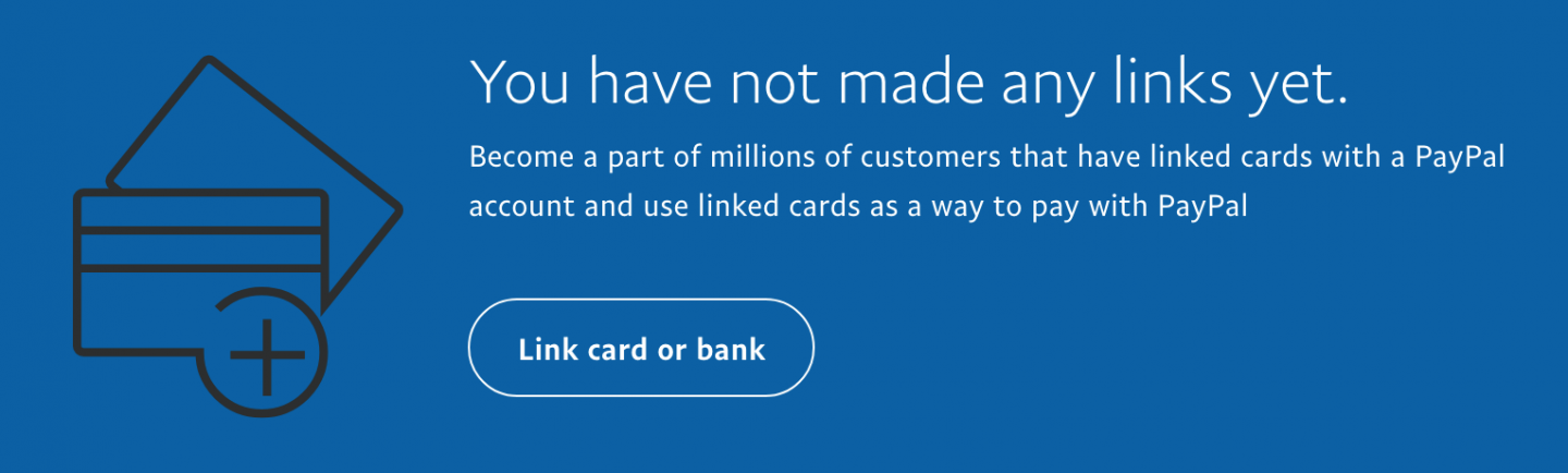 PayPal encouraging you to link cards and accounts