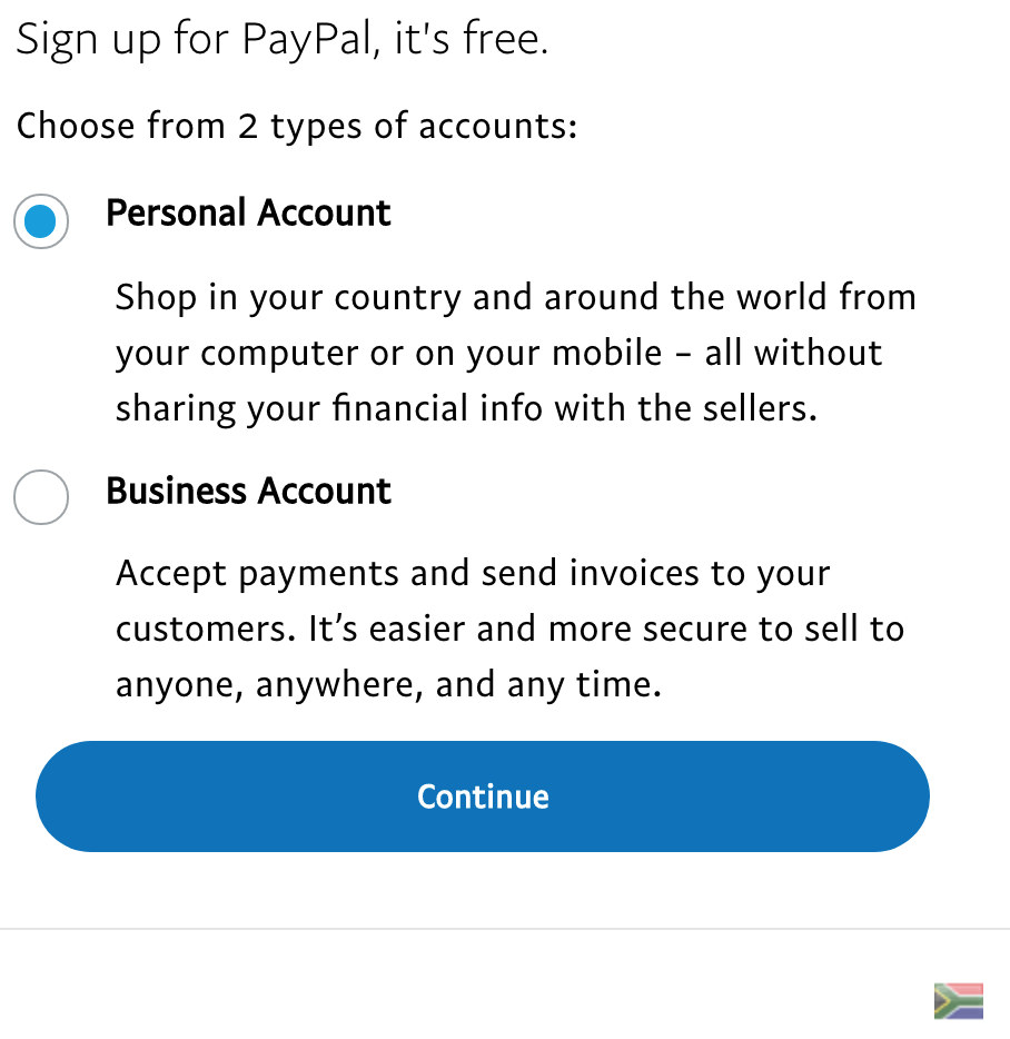 Signing up to PayPal
