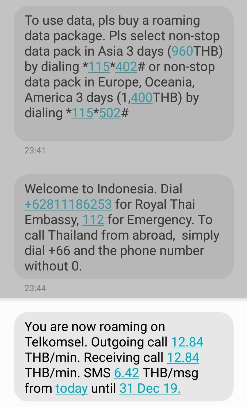 Roaming Message received in Bali