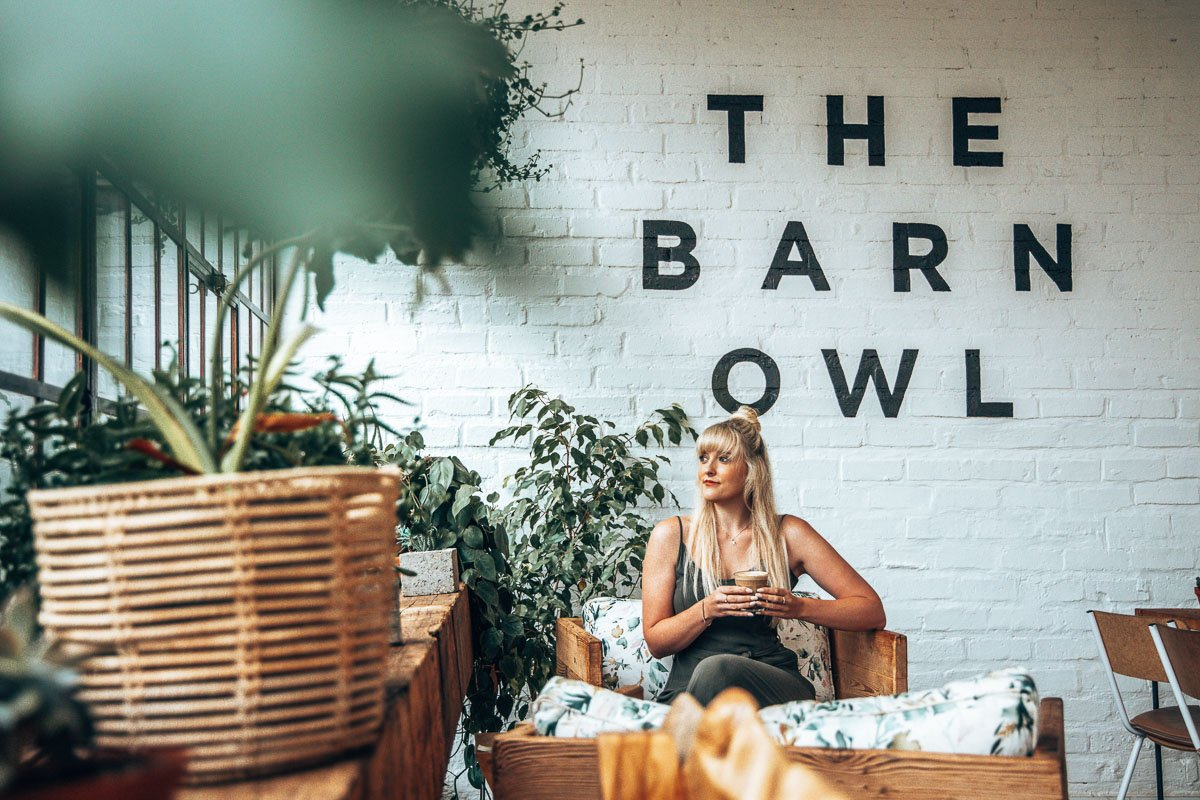 Tammy Sitting at the Barn Owl in the Midlands Meander