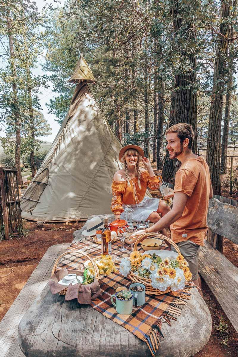 Byron and Tammy having a picnic at Nguni Moon Tepee Camp