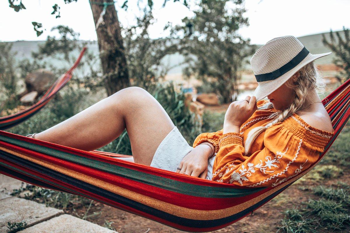 Tammy relaxing on a hammock