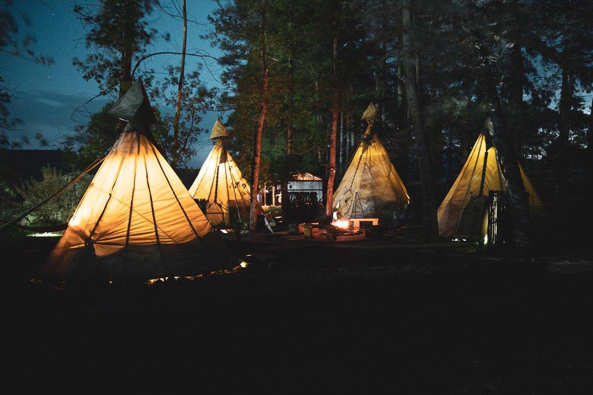 Nguni Moon Tepee Camp at Night