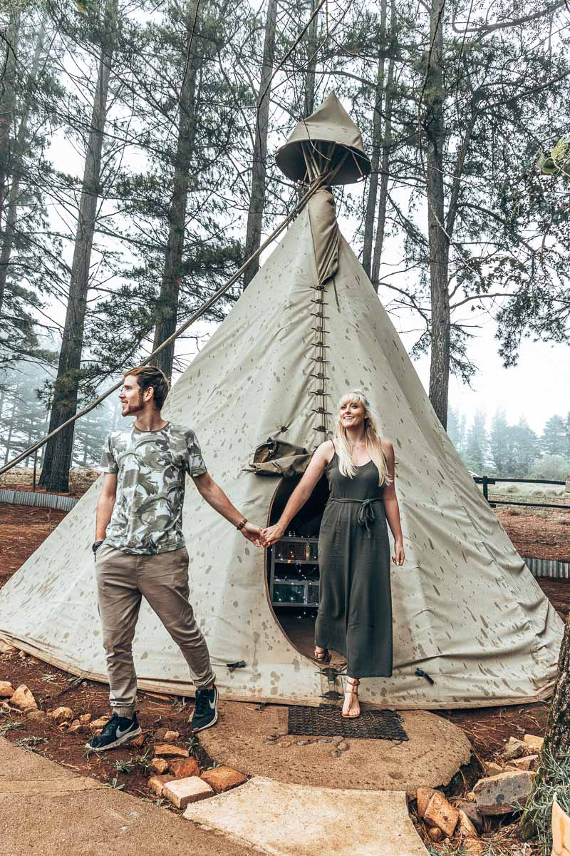 Walking out of the Tepee