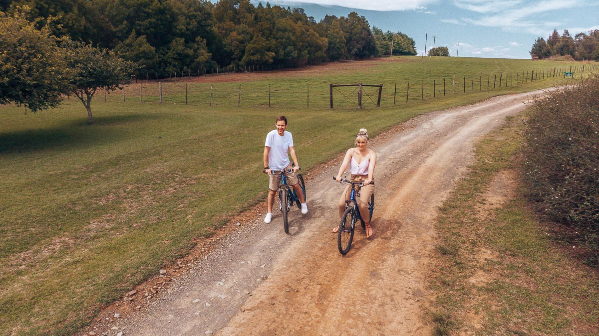 Riding bicycles at Hartford House