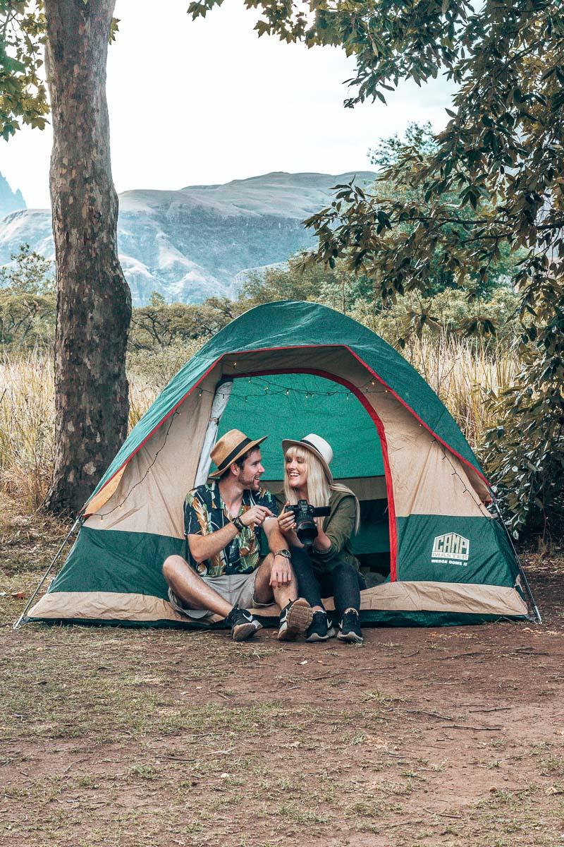Byron & Tammy Sitting in a tent