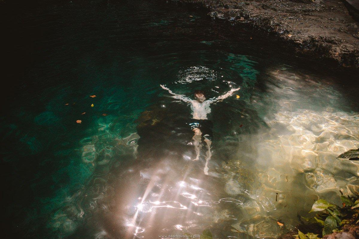 Byron swimming at Tembeling Natural Pools