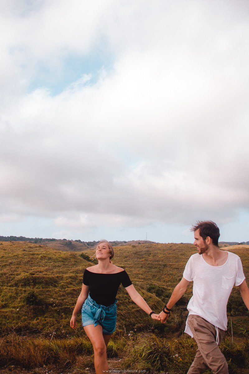 Couple at Teletubbies Hill on Nusa Penida