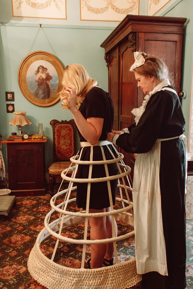 Girl Trying on a Cage Crinoline