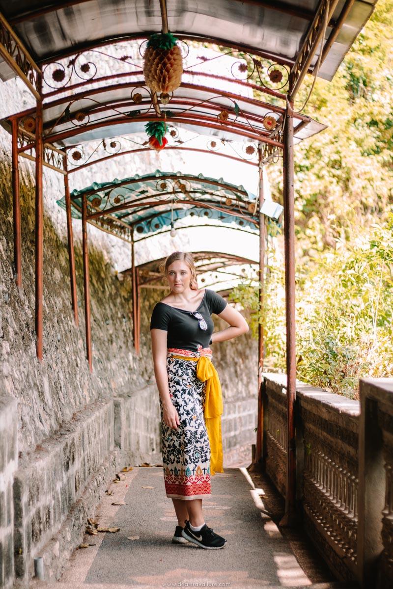 Girl at Pura Goa Giri Putri Underground Temple