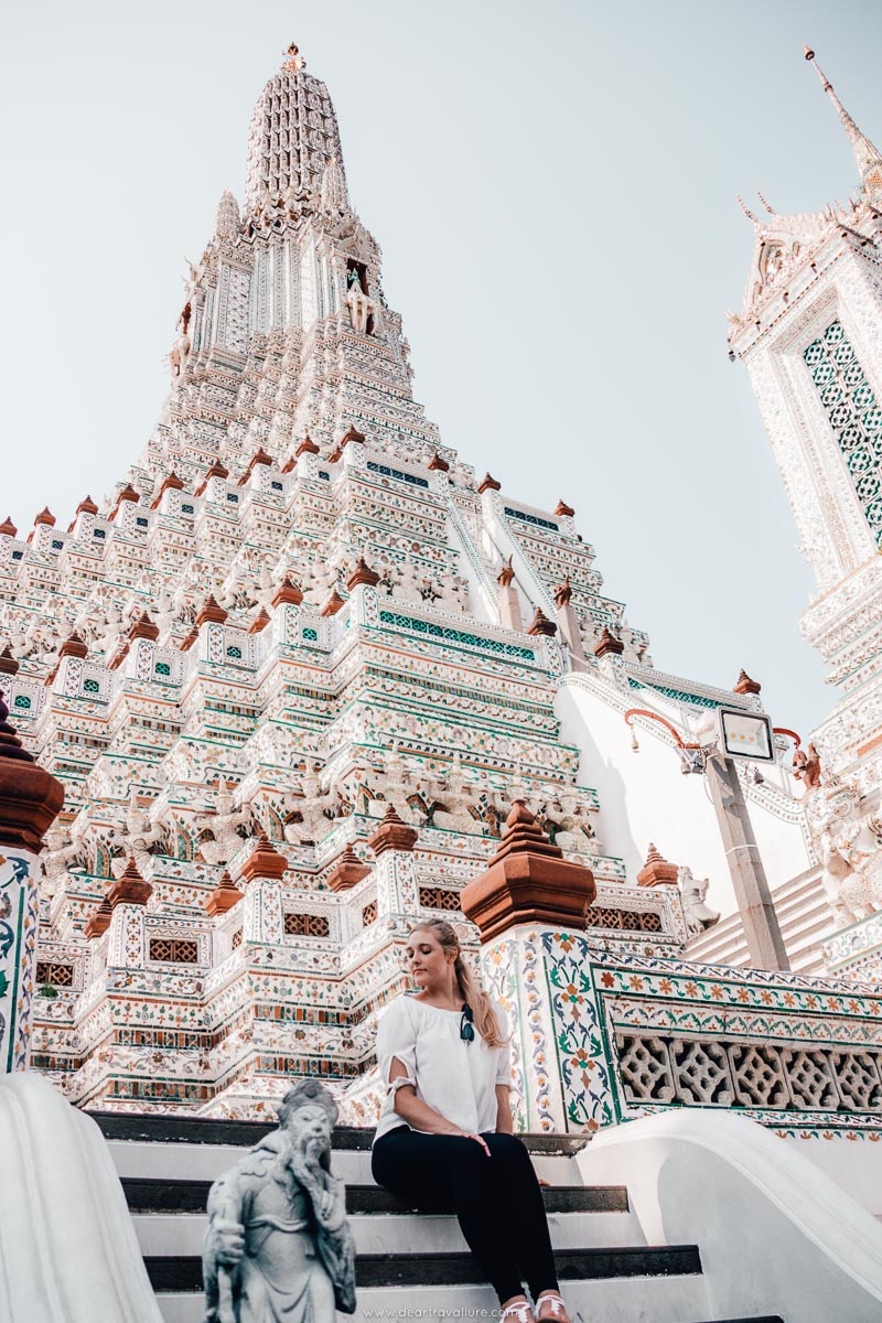 Sitting by Wat Arun's Temple