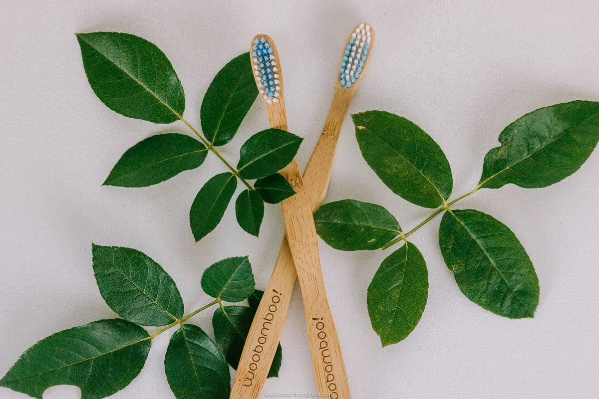 Bamboo Toothbrushes on Leaves