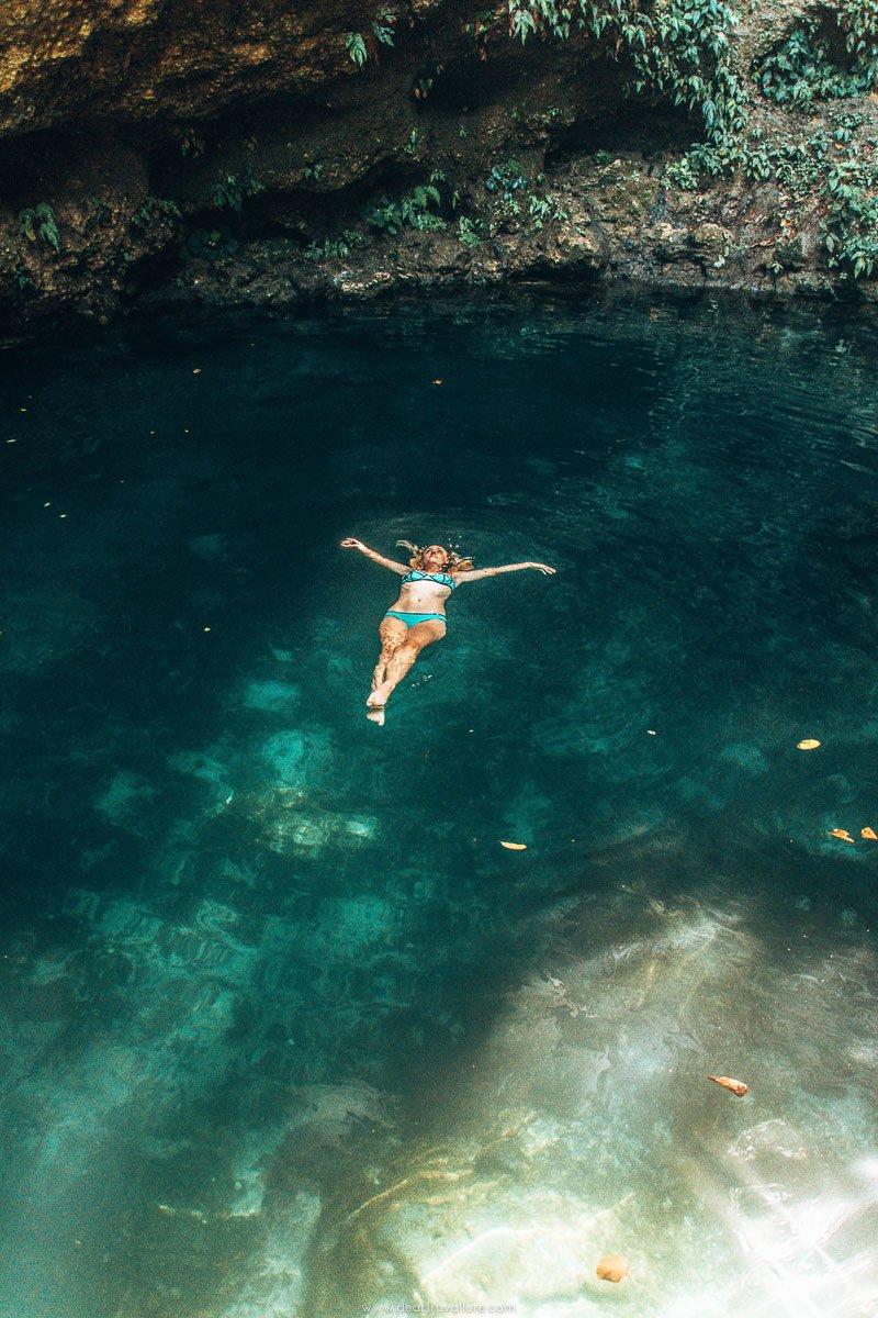 Tammy Floating in Tembelings Natural Pools