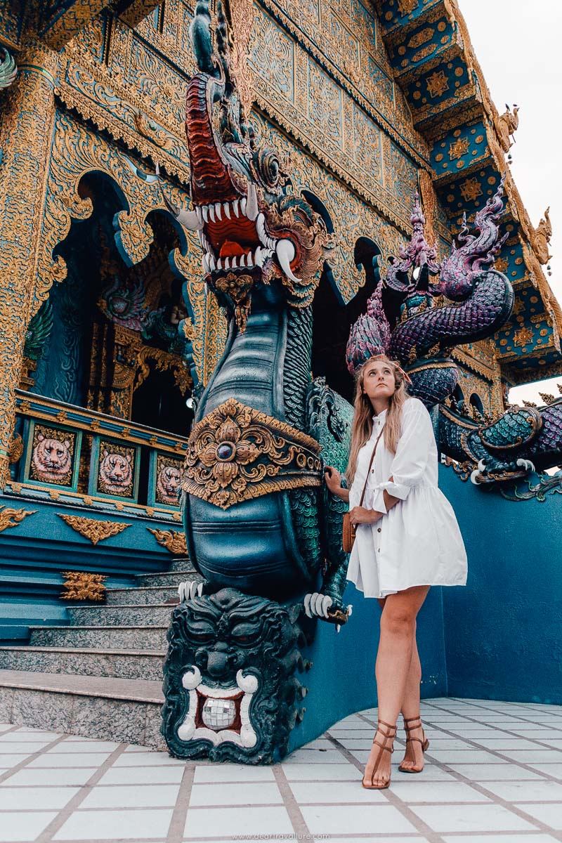 Tammy outside the Blue Temple in Chiang Rai