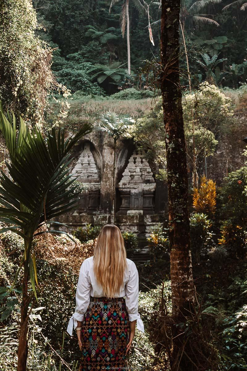 Tammy staring out at the Rock Carvings at Pura Gunung Kawi