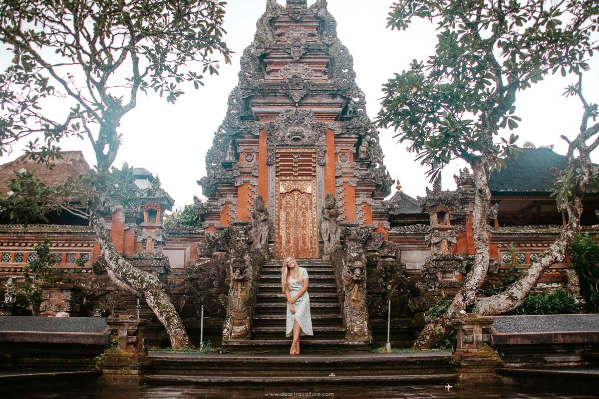 Girl standing at Saraswati Temple