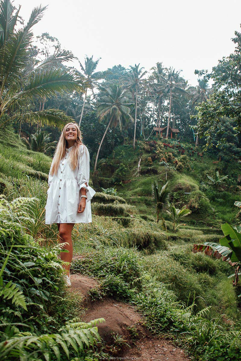 Tammy standing in the Tegallalang Rice Terrace