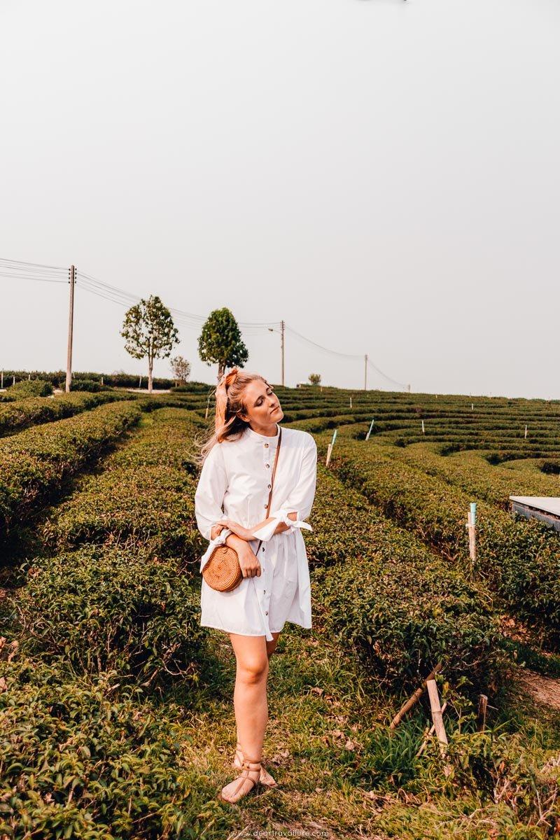 Tammy walking through the tea plantation