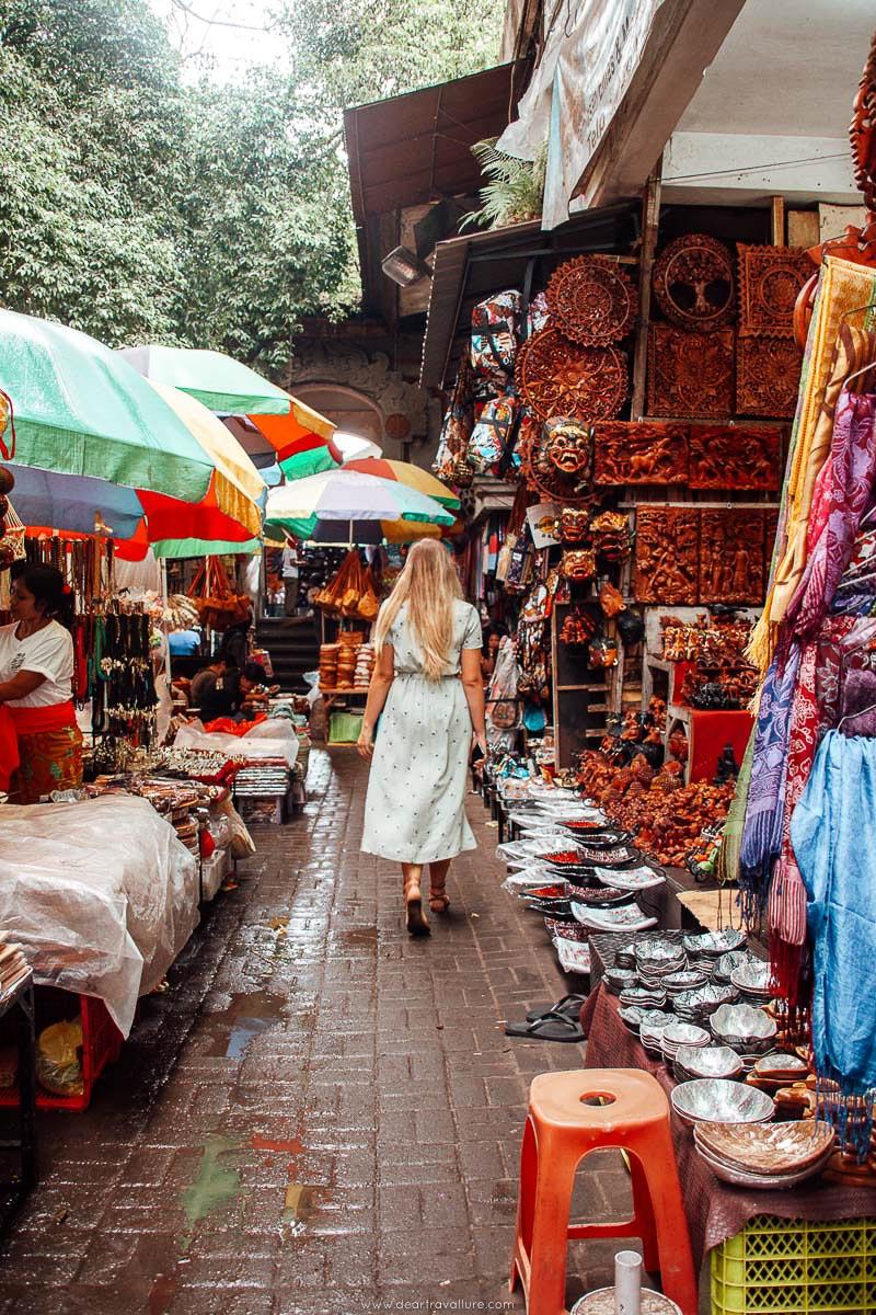 Girl walking around Ubud's Art Market
