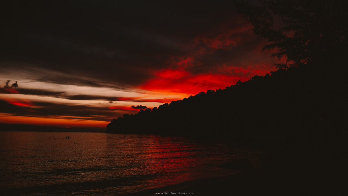 A rich red sunset off the coast of Koh Adang