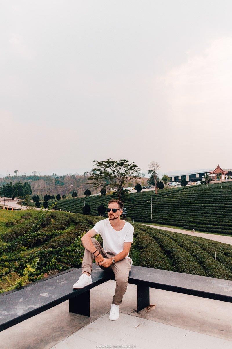 Byron sitting at the Choui Fong Tea Plantations