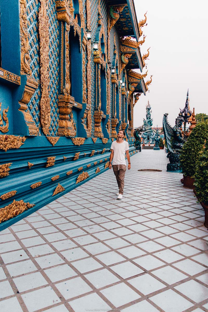 Byron walking around the Blue Temple in Chiang Rai