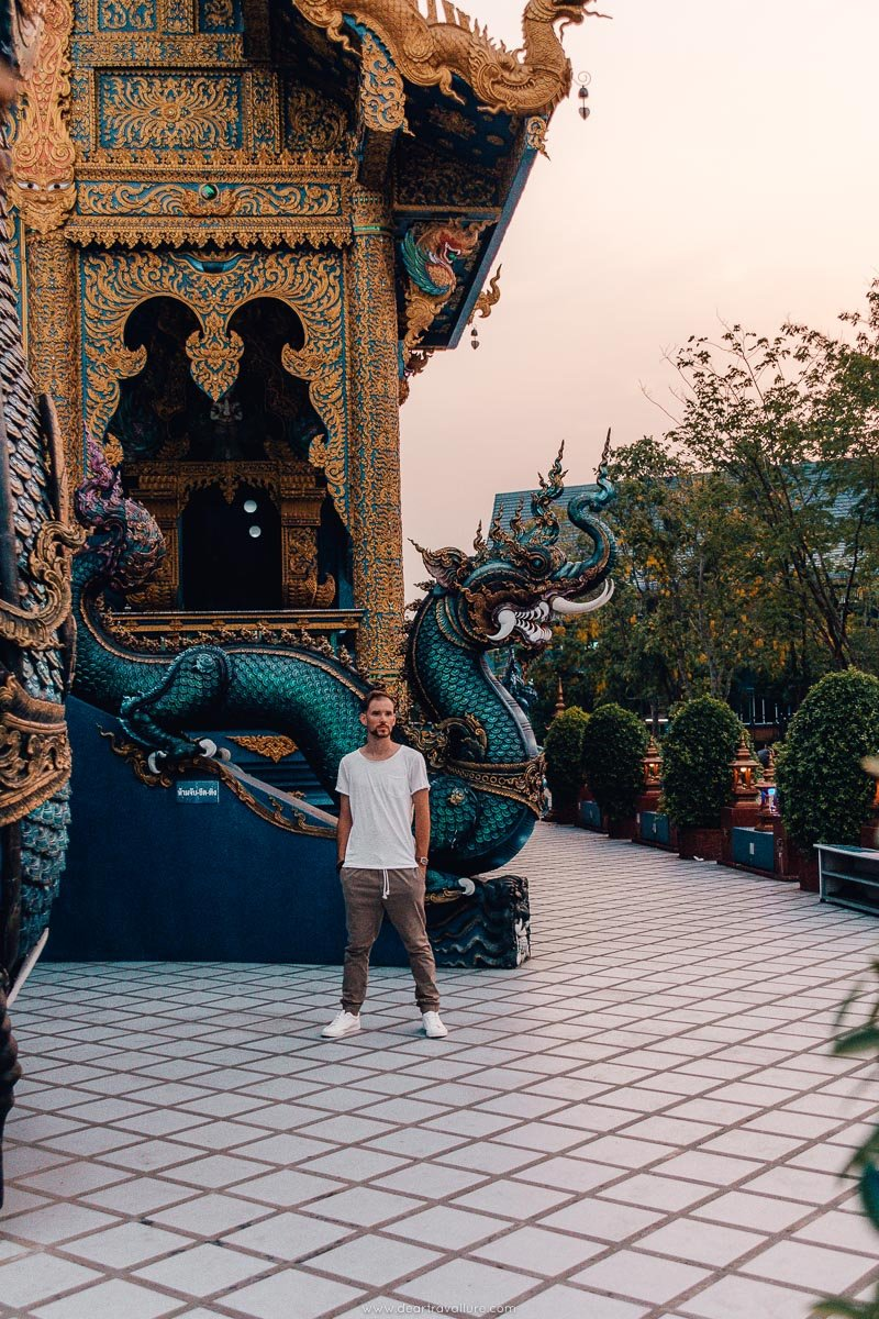 Byron standing outside the Blue Temple in Chiang Rai