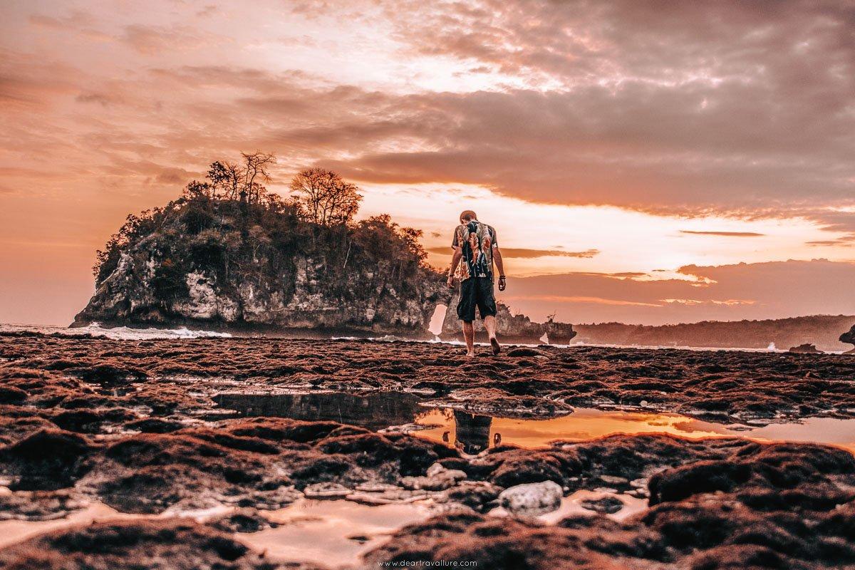 Byron walking on Crystal Bay Beach at Sunset