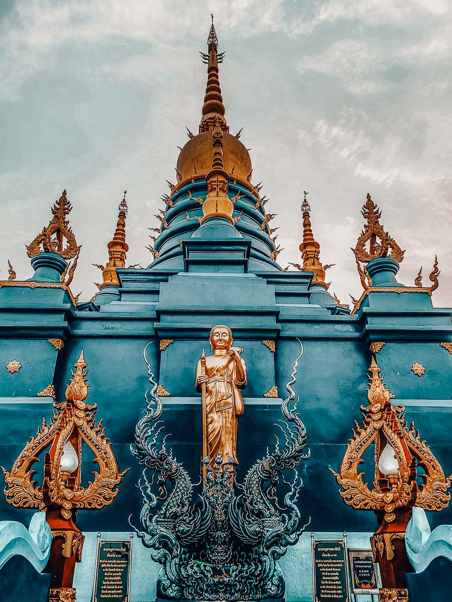 Part of the building of the Blue Temple in Chiang Rai
