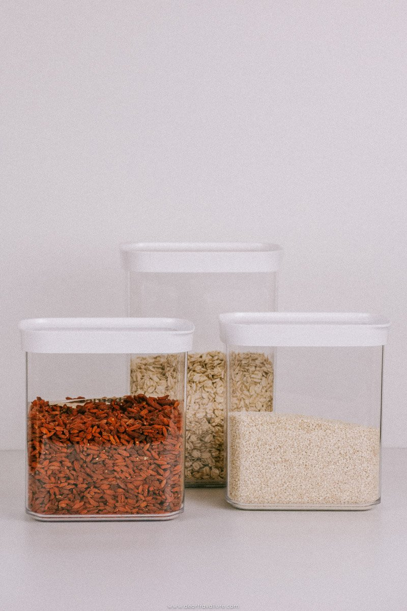 Plastic containers storing bulk goods