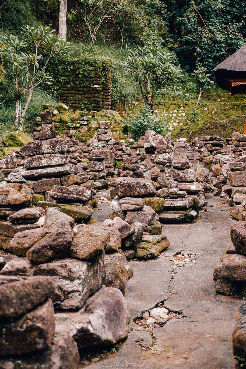 Rocks stacked up in the old Temple grounds