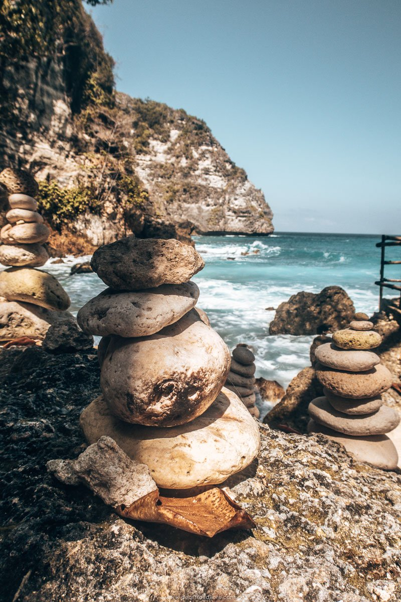 Rock stacking at Tembeling Natural Pools