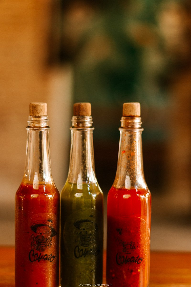 Sauce bottles at Cafe Cito