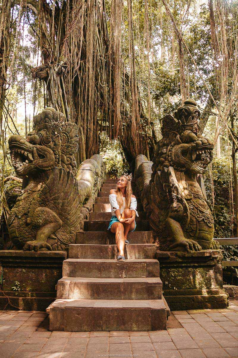 Tammy Sitting on the steps at the Monkey Forest in Ubud