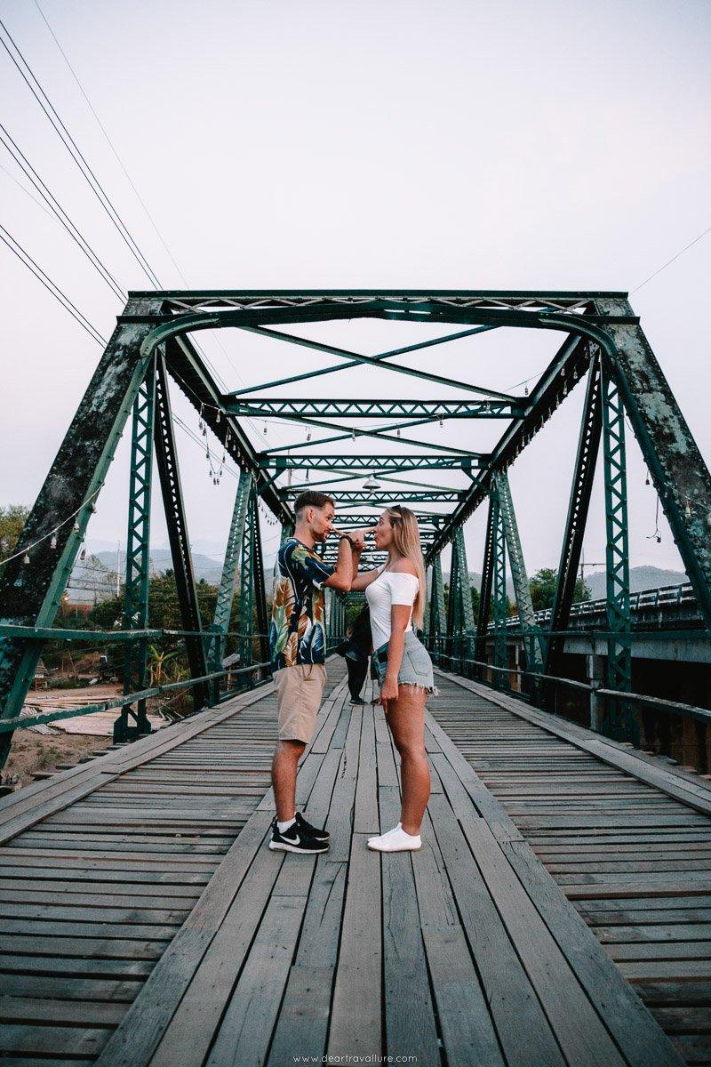 Couple on the Memorial Bridge in Pai