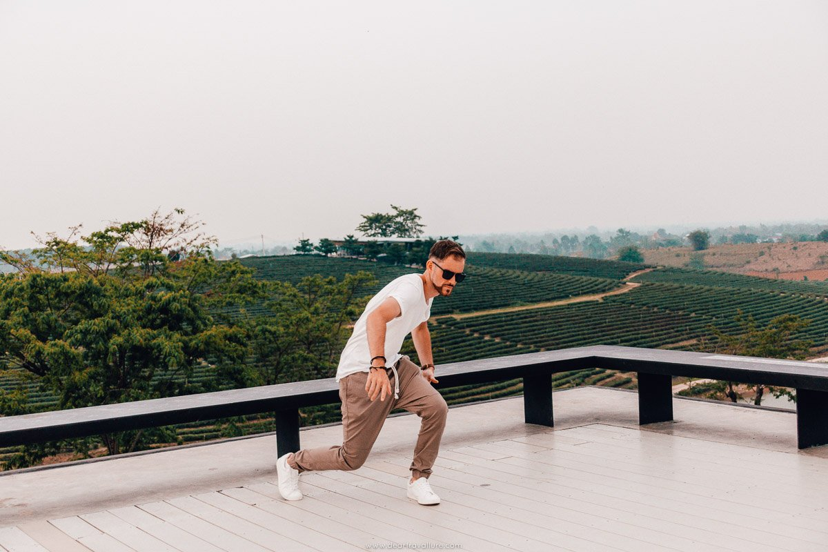 Byron being silly at Choui Fong Tea Park
