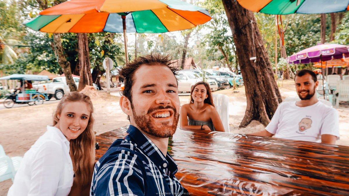 Tammy, Byron, Ashley and Finn enjoying a shady seat at Pak Meng Beach