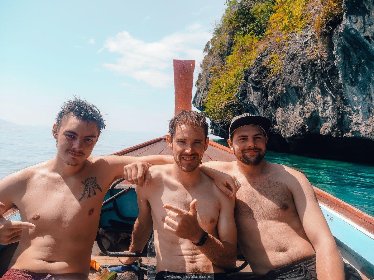 Josh, Byron and Finn enjoying a the sun on a longtail boat