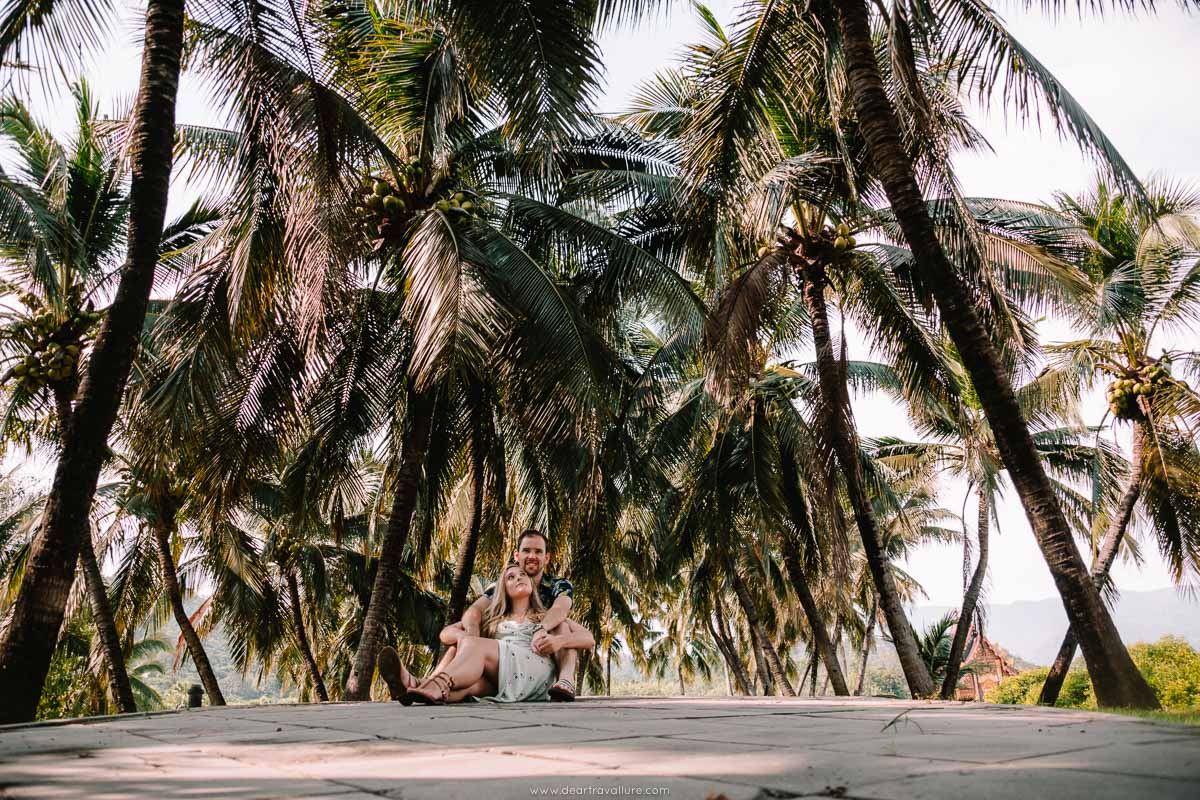 Byron and Tammy sitting under a palm tree lined road in the Royal Park Rajapruek