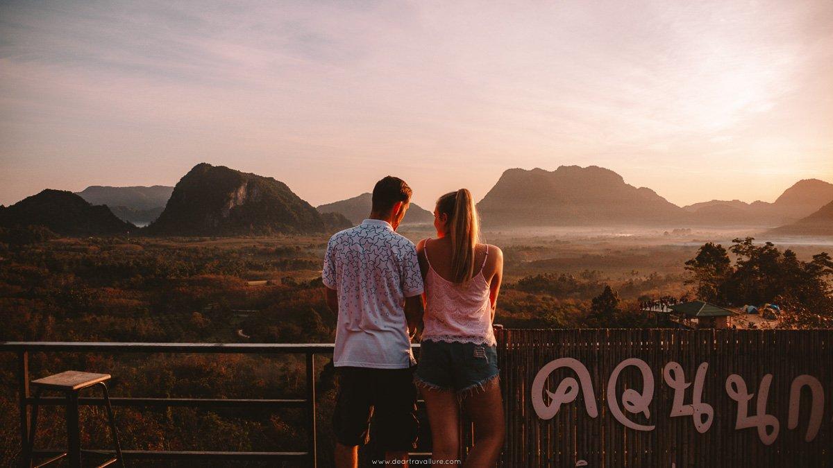 Byron and Tammy enjoying the sunrise from Kuan Dancing Bird Viewpoint