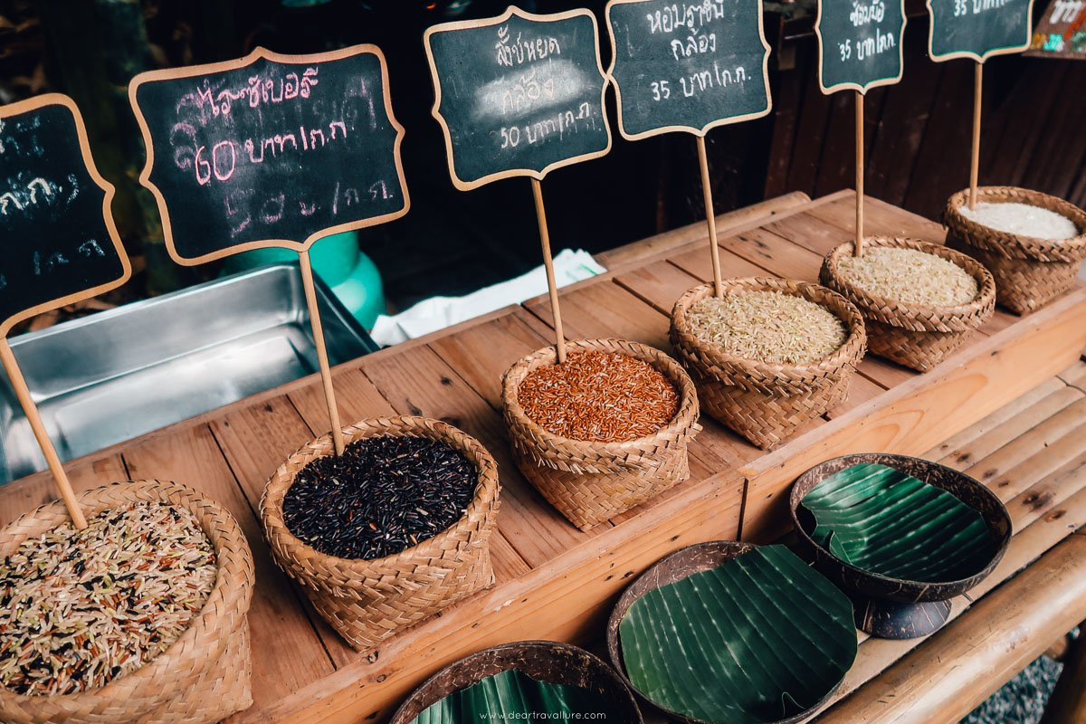 Some of the rice variations on offer at the Bamboo Market