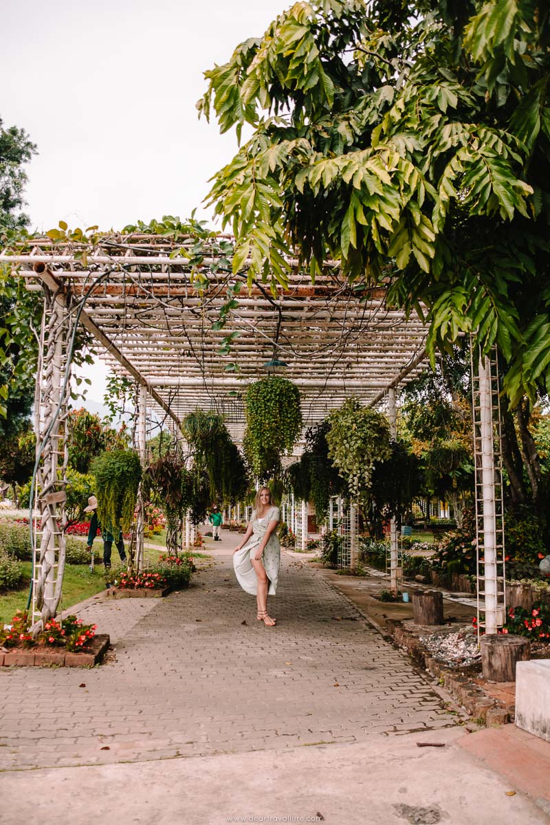 Tammy walking through a tunnel of plants at the Royal Park Rajapruek