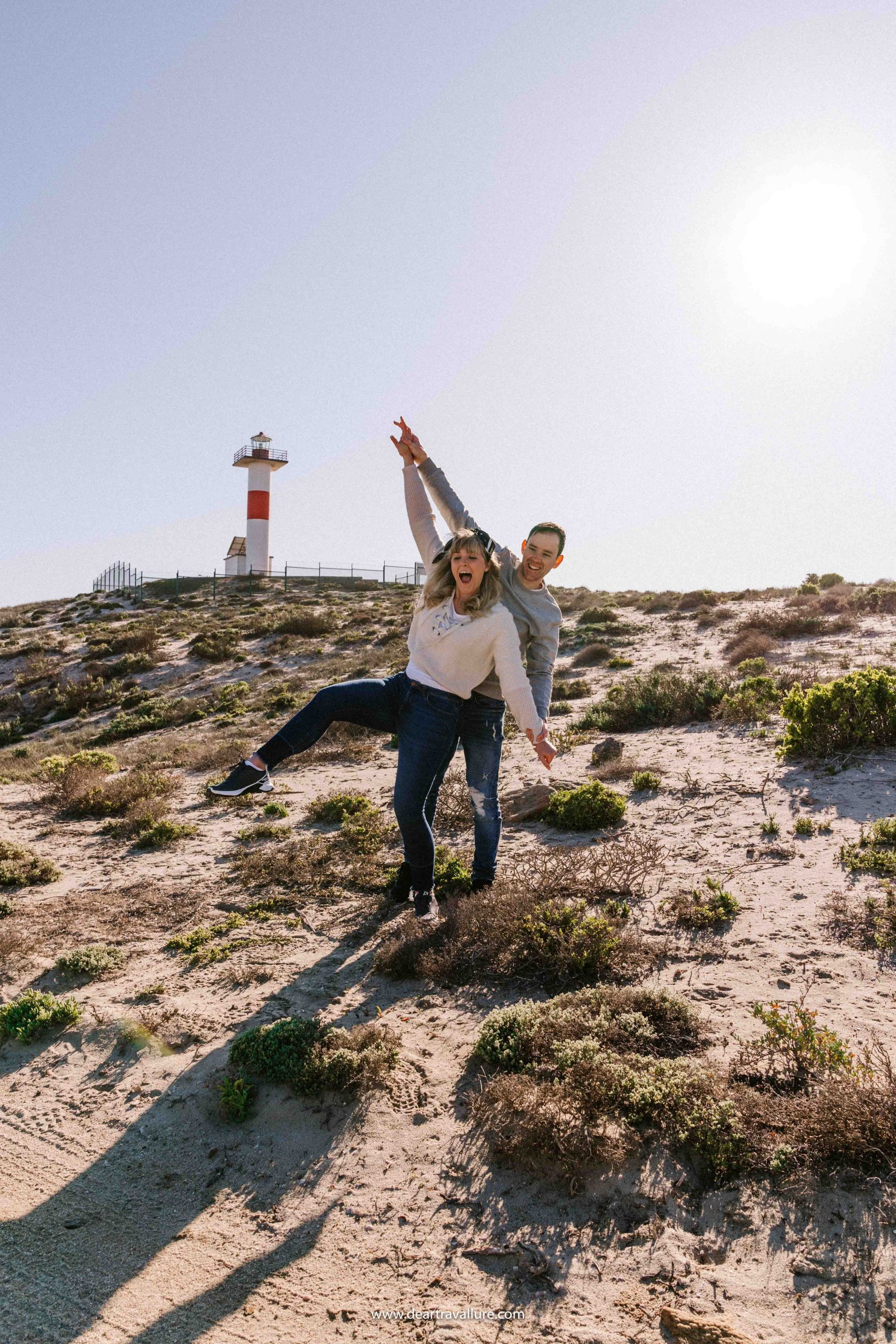 Byron and Tammy dancing by the Hondeklipbaai Lighthouse