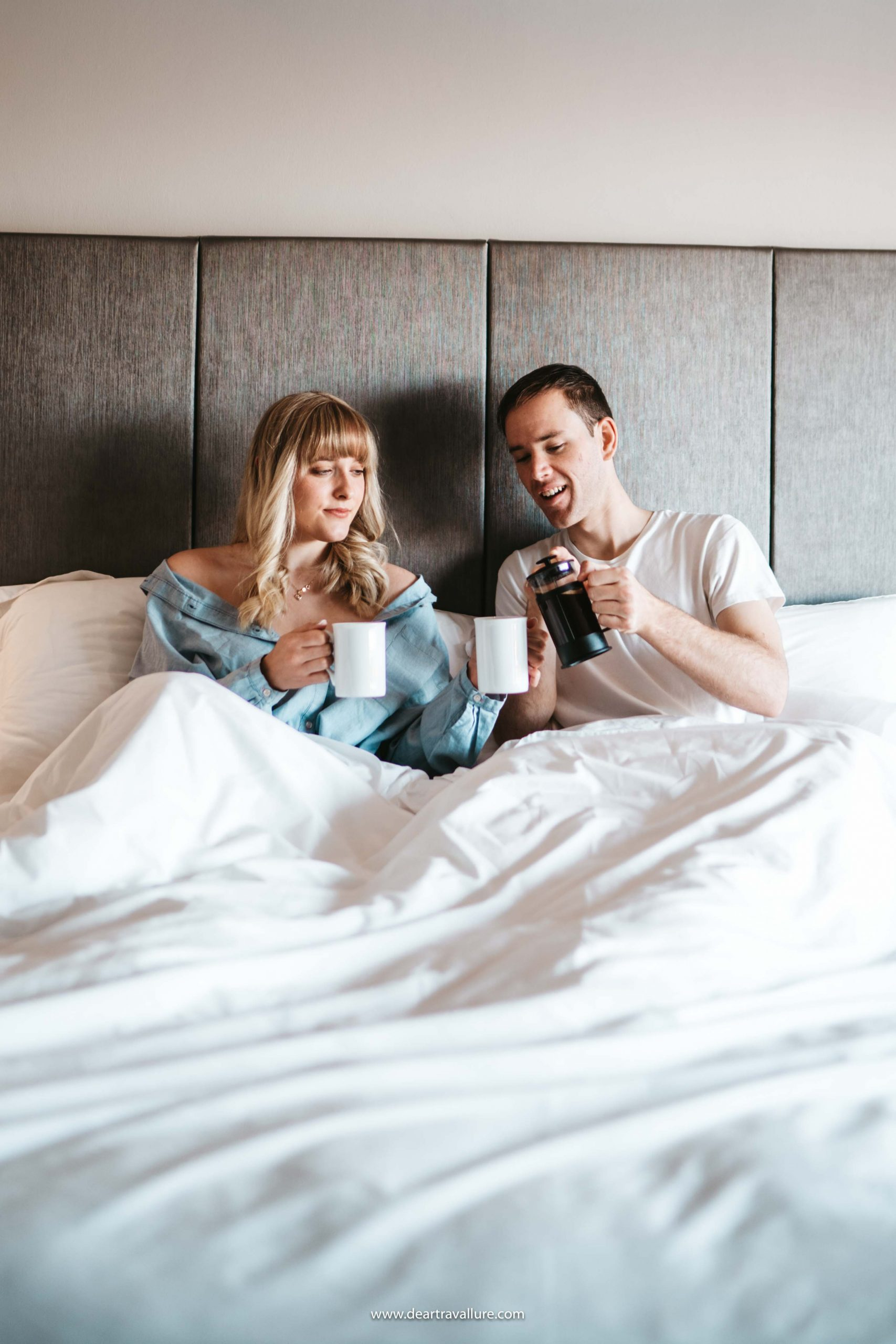 Byron and Tammy having coffee in bed