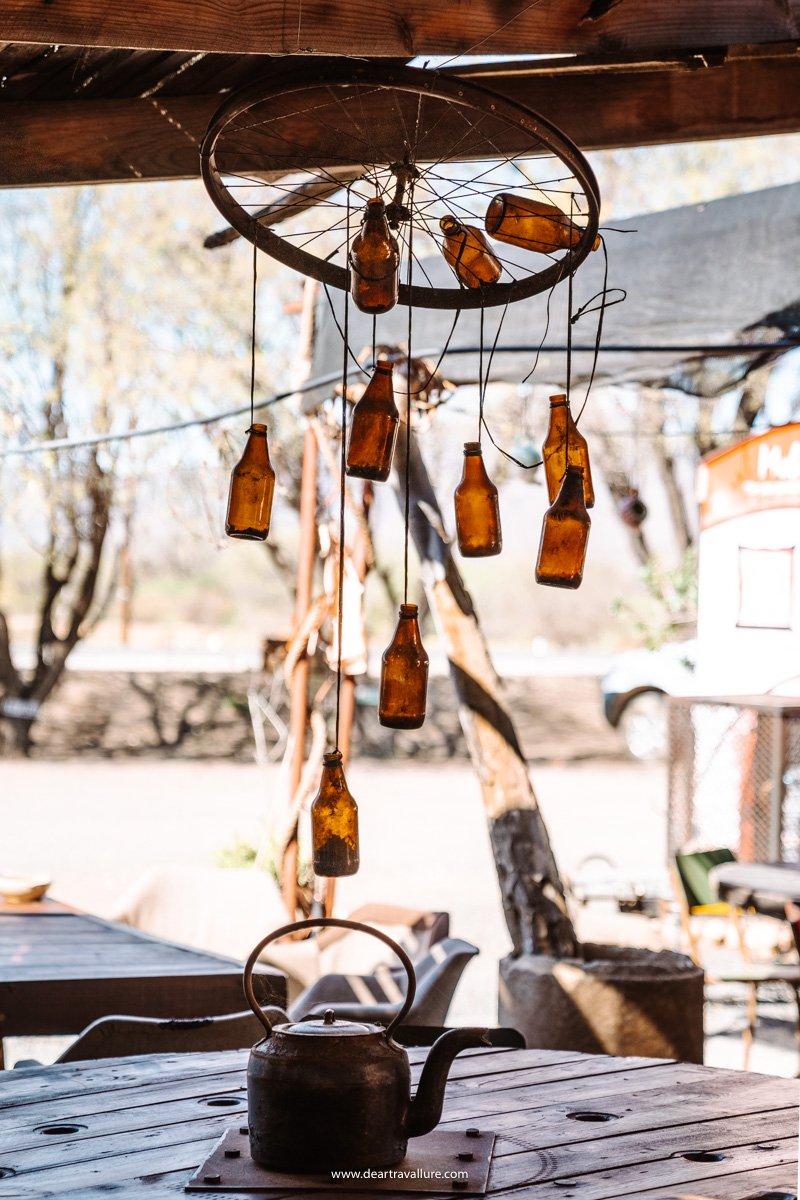 Old Bottle Chandelier at Bagdad Café