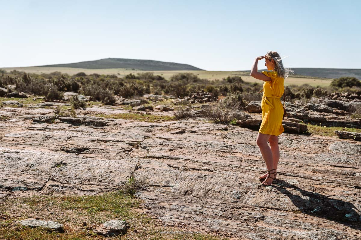 Tammy walking across the Glacial Pavement